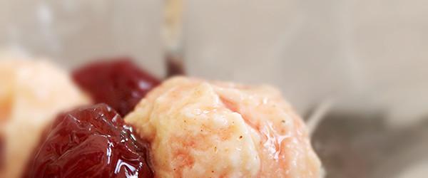 gelato di ricotta con composta di ciliegie di Montelibretti